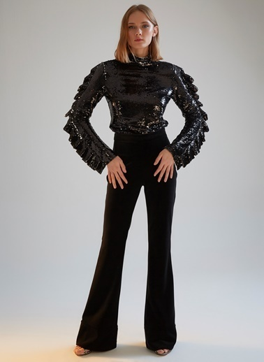 morhipoxsudi etuz Payetli Kolu Fırfır Detaylı Bluz Siyah